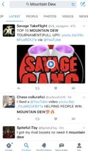screenshot of mobile twitter mountain dew social listening search